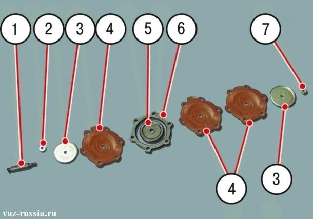 Под цифрами обозначены все компоненты диафрагменного узла