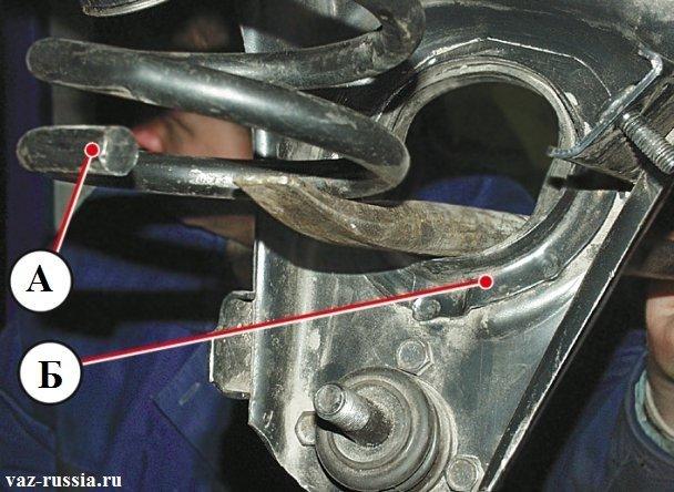 Установка новой пружины, при помощи монтажной лопатки и таким образом чтобы виток «А», плотно прилегал к опорной чашке «Б»