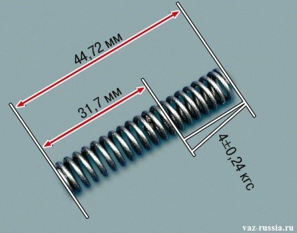 Пружина редукционного клапана которая в разжатом состоянии должна быть «44.72 мм». А в полностью сжатом «31.7 мм».