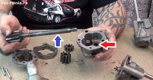 Синей стрелкой указана опорная поверхность ведущий шестерни, а красной указано отверстие в корпусе