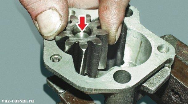 Стрелкой показано место где необходимо замерить зазор между внутренней частью шестерни и между самой оси на которую эта шестерня устанавливается