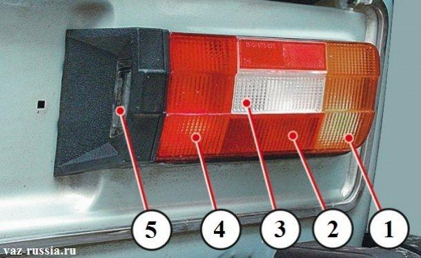 Стрелками указаны те части на которые делить задний фонарь на автомобиле