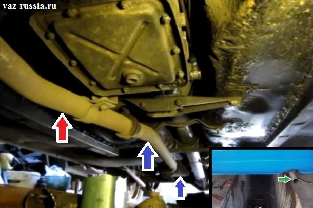 Красной стрелкой показан конец приёмной трубы, синей начало резонатора и так же его конец, а зелёной показана выходящая часть заднего глушителя