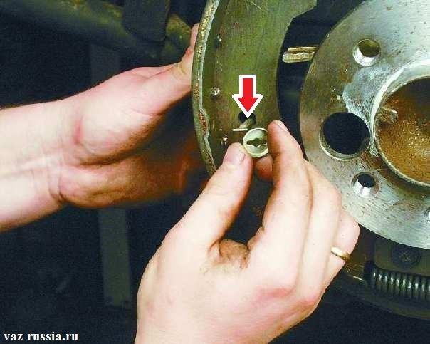 Снятие нижней чашки и после этого снятие стержня тормозного щитка который указан стрелкой