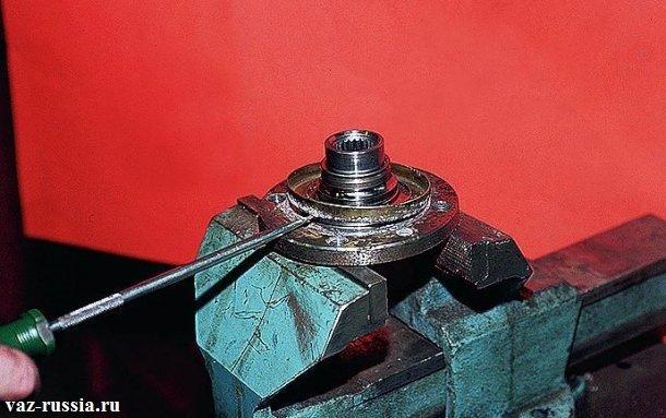 Поддевание отвёрткой грязезащитного кольца и его снятие