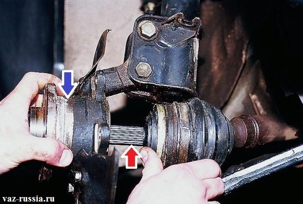 Отведение шруса который указан красной стрелкой (Ту часть шруса которую нужно отвести, называют ещё гранатой) от поворотного кулака который указан синей стрелкой