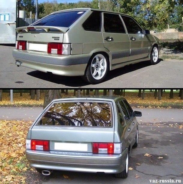 На фотографии изображено два автомобиля ВАЗ 2114 и на одном из них присутствует спойлер, а вот на другом он отсутствует