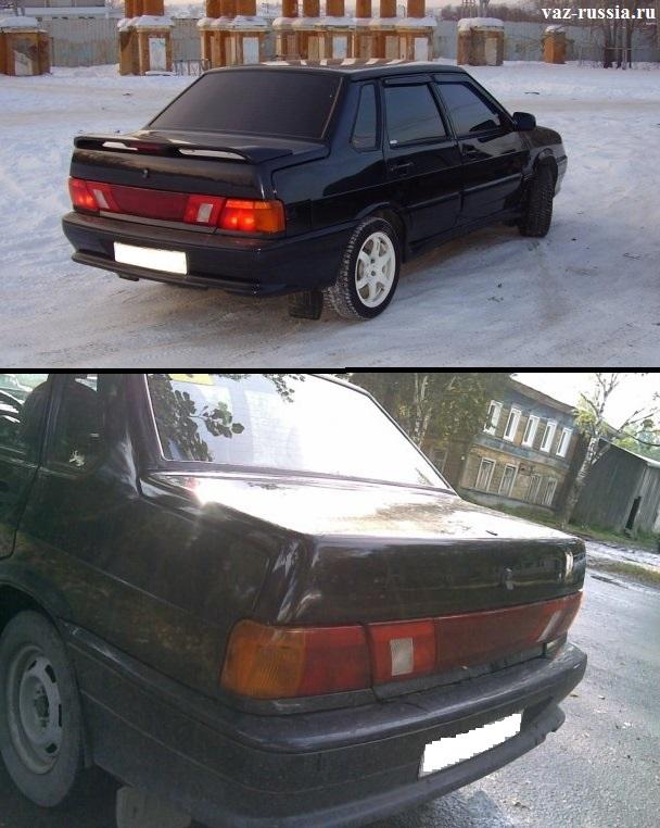 Для наглядности на фото представлено два рисунка, на котором автомобиль ВАЗ 2115 представлен со спойлером и без него
