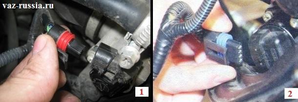 Отсоединение от обоих датчиков узла колодок проводов, посредством отжатия фиксаторов которые их крепят