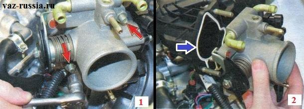 Выворачивание гаек крепления дроссельного узла и его снятие с ресивера автомобиля