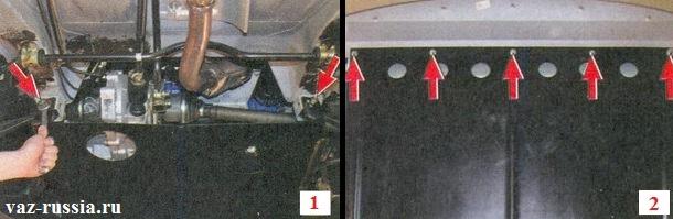 Выворачивание гаек которые крепят защиту к автомобилю и последующее её снятие