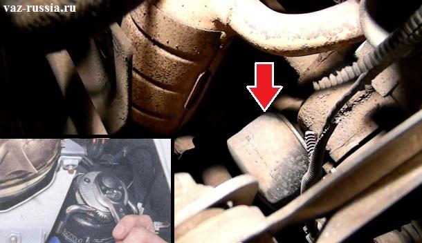 Масляный фильтр указан стрелкой, а на маленьком фото показано как его можно будет выкрутить