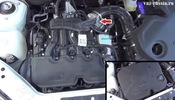 На фотографиях показано местонахождение дроссельного узла и экрана