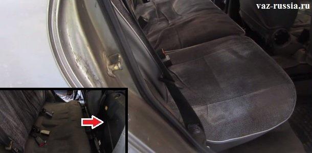 Откидывание подушек заднего сиденья назад, для того чтобы подобраться к топливному насосу