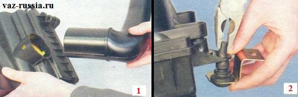 Отсоединение патрубка который подводит воздух от корпуса и снятие с помощью пассатижей всех резиновых опор совместно с кронштейнами