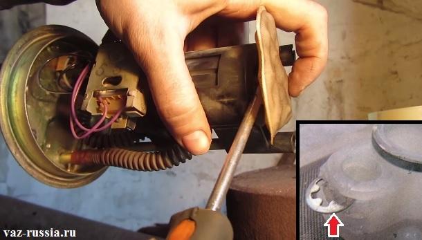 Снятие сеточки с корпуса внутри которого находиться электродвигатель насоса и вынимание стопорной шайбы которая эту сеточку крепит