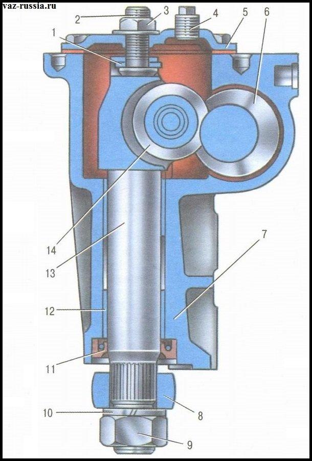 Вал сошки показан на рисунке и цифрой 12 указана его бронзовая втулка