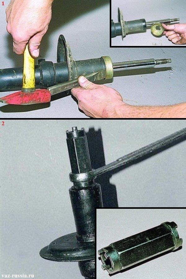 Сбивание опоры буфера сжатия и выкручивание при помощи специального ключа гайки, которая крепит патрон стойки
