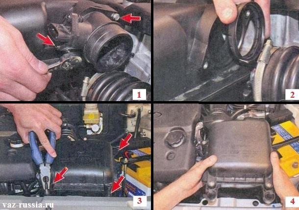 Отворачивание болтов крепления датчика массового расхода воздуха и вынимание при помощи пассатижей резиновых опор удерживающих корпус фильтра из прорезей в которых они располагаются