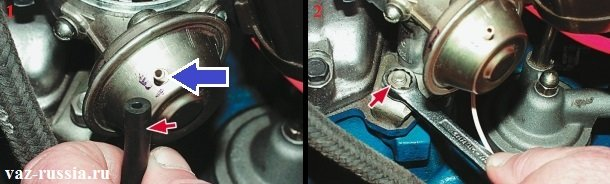 Отсоединение от вакуумного регулятора шланга и отворачивание гайки крепления распределителя зажигания