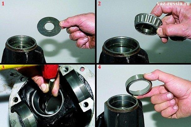 Вынимание маслоотражателя из гнезда редуктора, вынимание кольца подшипника и выбивание наружного кольца подшипника находящегося внутри редуктора