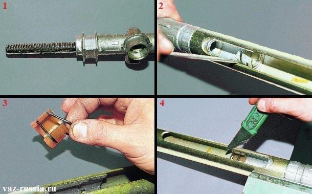 Снятие опорной втулки и вынимание рулевой рейки из картера