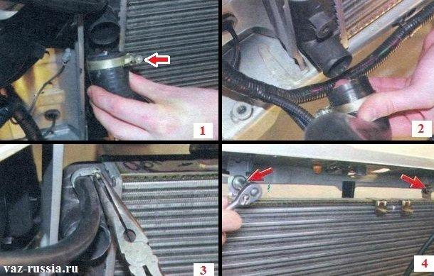 Отсоединение всех патрубков от радиатора и отворачивание двух верхних гаек крепления радиатора