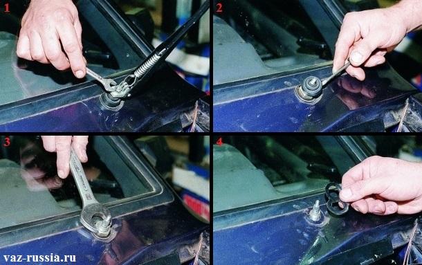 Снятие дворника с автомобиля посредством выворачивания гайки которая его крепит