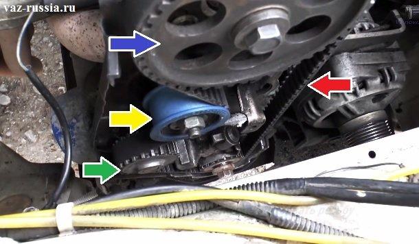 Механизм ГРМ показан на фото, а стрелками указаны все шкивы, сам ремень, помпа и натяжной ролик который и регулирует натяжение ремня ГРМ на автомобиле