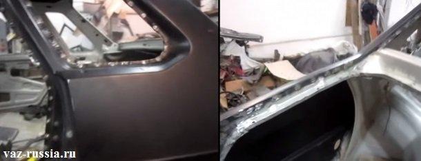 На обоих фотографиях можно видеть приваренное крыло намертво к кузову автомобиля