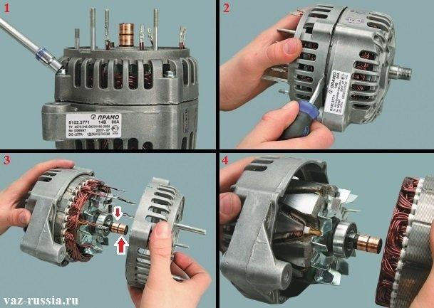 Выворачивание болтов крепления крышек генератора и их разъединение между собой, а так же снятие статора с одной из крышек