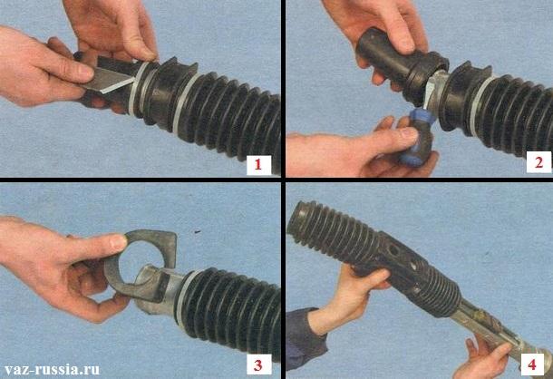 Разрезание одно-разовых хомутов и их снятие, а так же снятие пластиковых втулок, резиновых подушек и самого пальника