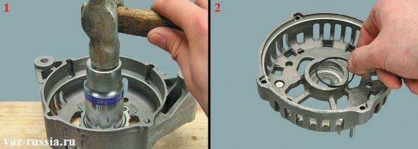 Забивание подшипника в крышку на своё место и замена уплотнительного кольца на новое, при обнаружение на нём дефектов