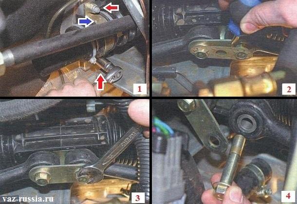 Отворачивание всех гаек крепления рейки и её снятие, а так же снятие пластинки и выкручивание двух болтов крепления рулевых тяг к рейки