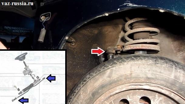 Схема на которой можно понять где находятся наконечники рулевых тяг и основное фото, на котором наглядно можно увидеть местонахождение одного наконечника