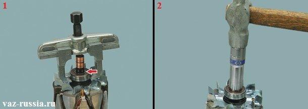 Спрессовывание при помощи специального съёмника подшипника и установка нового на его место