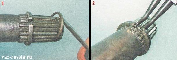 Поддевание стопорного кольца и его снятие, а так же вдоль вала снятие упорного кольца