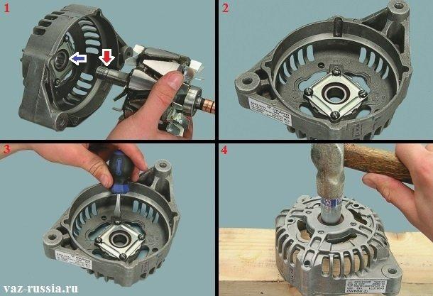 Вынимание вала ротора из подшипника и снятие подшипника по необходимости