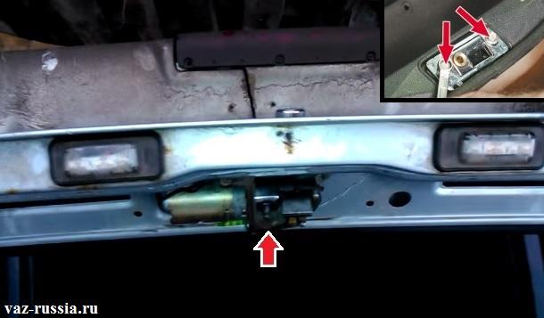 Местонахождение замка багажника и фиксатора автомобилей с кузовом хетчбэк