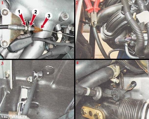 Ослабление гайки и выведение троса из кронштейна, а так же разрезание пластикового хомута и отсоединение от педали газа тросика и его выведение через моторный отсек и снятие с автомобиля
