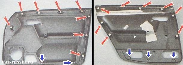 Пистоны (Фиксаторы) крепления обшивки дверей у автомобиля