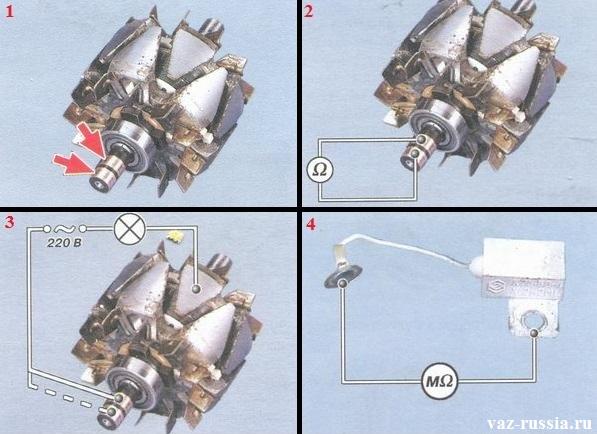 Проверка при помощи прибора ротора генератора на исправность