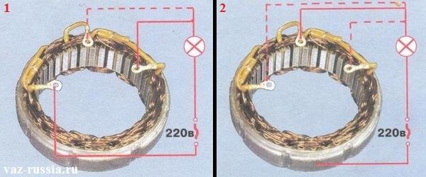 Проверка статора на исправность при помощи контрольной лампы и при помощи напряжения в 220 Вольт