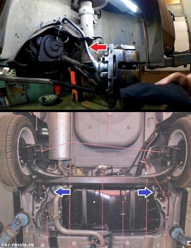 Расположение тормозных шлангов в автомобилях десятого семейства