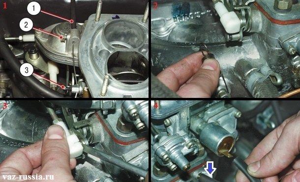 Отсоединение всех тяг и отсоединение шланга и провода с клеммы вакуумного корректора