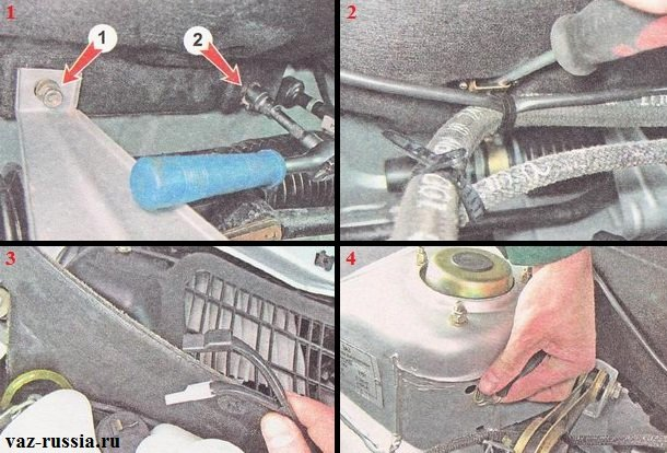 Выворачивание гаек крепления шумоизоляционного материла и отсоединение проводов от бачка омывателя заднего стекла и его снятие