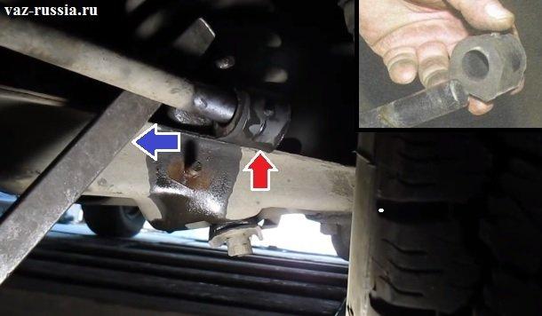 Отгибание монтировкой стабилизатора и снятие резиновой втулки с него