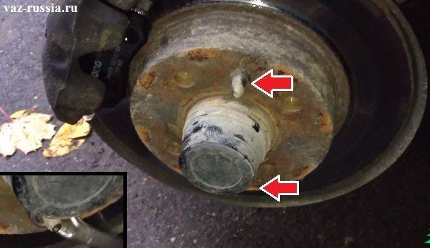 Выворачивание штифтов крепления диска к ступице