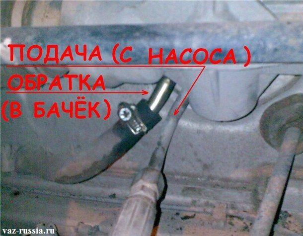 Два шланга, один из них металлический и крепится к трубки за счёт гайки