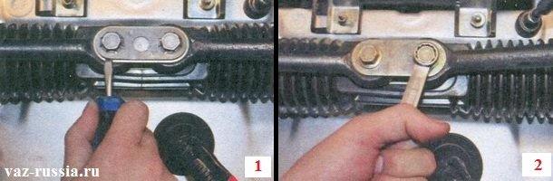 Поддевание стопорной пластины и её снятие, а так же выкручивание болтов которые рулевые тяги крепят